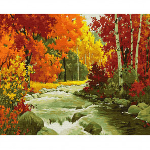 Внешний вид коробки Золотая осень Раскраска по номерам на холсте Molly KH0824
