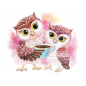 Милые совы Раскраска картина по номерам на холсте ME1125