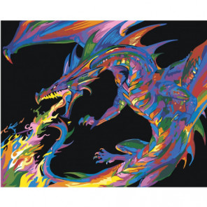 Радужный дракон 100х125 Раскраска картина по номерам на холсте
