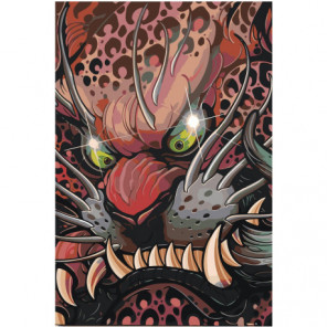 Японская маска дракона Раскраска картина по номерам на холсте