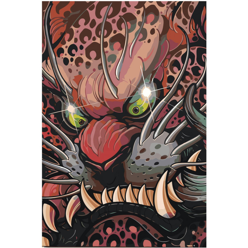 Японская маска дракона 80х120 Раскраска картина по номерам ...