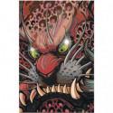 Японская маска дракона 100х150 Раскраска картина по номерам на холсте