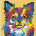 Разноцветная собачка Раскраска картина по номерам на холсте