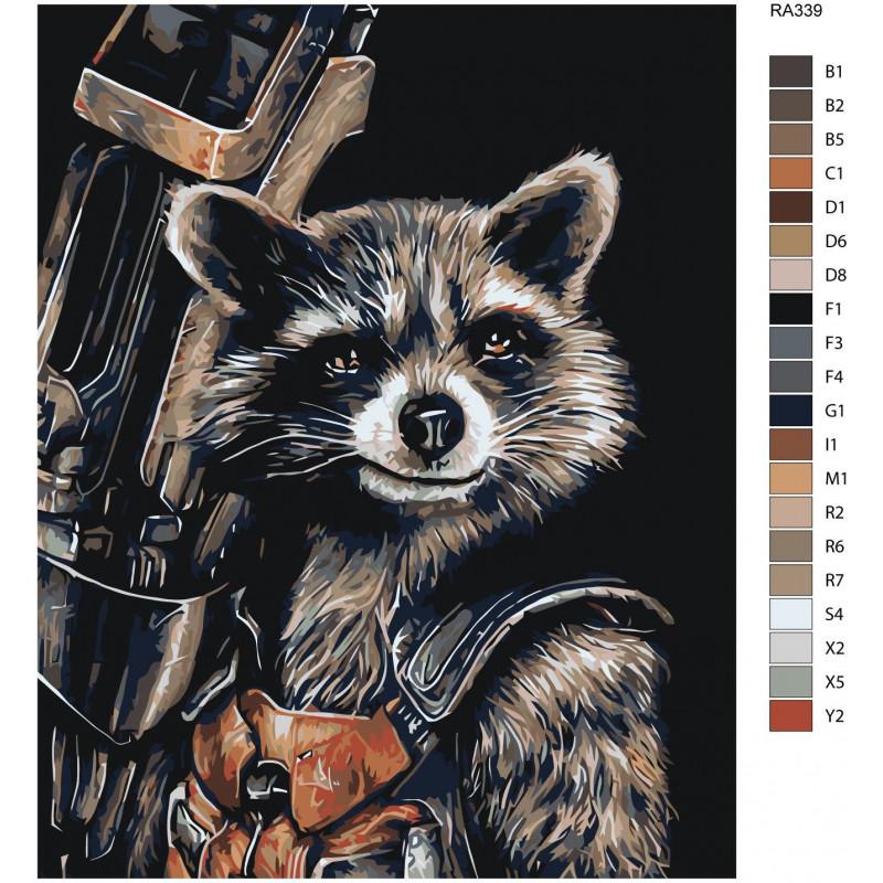 Реактивный енот 100х125 Раскраска картина по номерам на ...