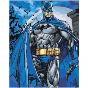 Бэтмен в синем плаще Раскраска картина по номерам на холсте