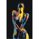 Обнаженная радужная девушка 100х150 Раскраска картина по номерам на холсте