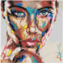 Взгляд радужной девушки 100х100 Раскраска картина по номерам на холсте