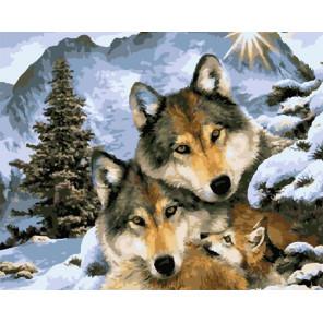 Волки в зимнем лесу Раскраска картина по номерам на холсте GX5055