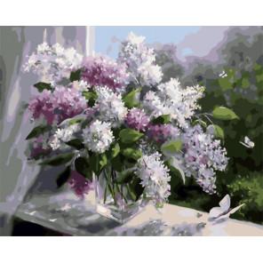 Букет сирени на окне Раскраска картина по номерам на холсте GX29496