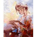 Девушка с оригами Раскраска картина по номерам на холсте GX30936