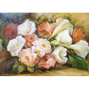 Каллы с розами Ткань для вышивки лентами Каролинка КЛ-3054