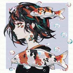 Прогулка под водой. Девушка аниме Раскраска картина по номерам на холсте AAAA-RS015-80x80