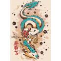 Дракон и странник. Аниме Раскраска картина по номерам на холсте AAAA-RS037-80x120