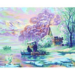 Горное озеро зимой Раскраска по номерам акриловыми красками Schipper (Германия)