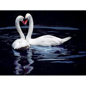 Влюбленные лебеди на пруду Алмазная вышивка (мозаика) Гранни
