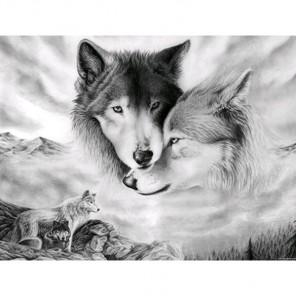Фрагмент крупно Волчья любовь Алмазная вышивка (мозаика) Гранни