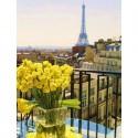 Париж. Желтые розы. Алмазная вышивка (мозаика) Гранни