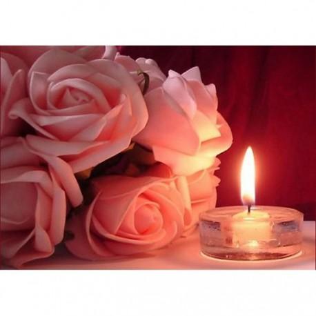 Розы и свечка Алмазная вышивка (мозаика) Гранни