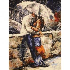 Готовая работа Романтическая прогулка под дождем Алмазная вышивка (мозаика) Гранни