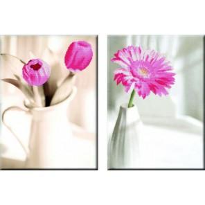 Нежность цветка Диптих Алмазная частичная вышивка (мозаика) Color Kit