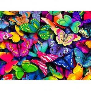 Разноцветные бабочки Алмазная вышивка (мозаика) Гранни
