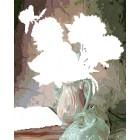 Область выкладывания алмазинок Пионы в вазе Алмазная частичная вышивка (мозаика) Color Kit