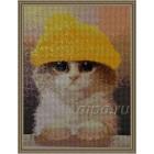 Милый котик Алмазная вышивка (мозаика) Гранни - собранный вариант в рамке