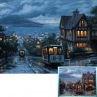 Ночной трамвай Алмазная вышивка (мозаика) Гранни