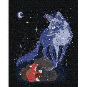 Волшебство в ночи. Лиса Раскраска картина по номерам на холсте AAAA-JV19-80x100