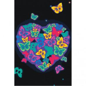 Сердце из неоновых бабочек 100х150 Раскраска картина по номерам на холсте
