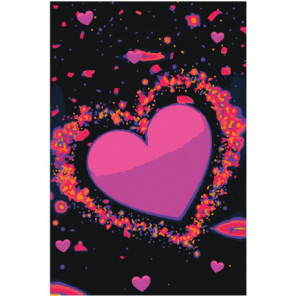 Сердце яркими неоновыми красками Раскраска картина по номерам на холсте