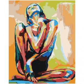 Разноцветная сидящая девушка Раскраска картина по номерам на холсте