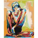 Разноцветная сидящая девушка 100х125 Раскраска картина по номерам на холсте