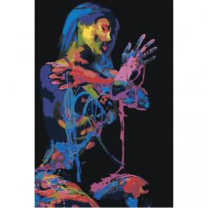 Красочная девушка в темноте Раскраска картина по номерам на холсте
