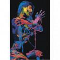 Красочная девушка в темноте 80х120 Раскраска картина по номерам на холсте