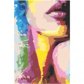 Радужная девушка незнакомка 80х120 Раскраска картина по номерам на холсте