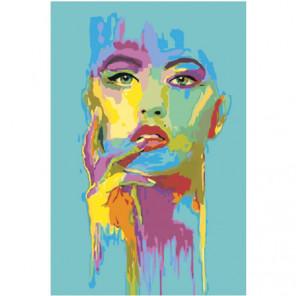 Красочное лицо девушки на голубом фоне 100х150 Раскраска картина по номерам на холсте