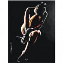 Девушка сидящая в темноте 60х80 Раскраска картина по номерам на холсте