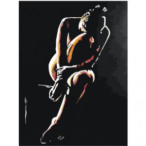 Девушка сидящая в темноте 75х100 Раскраска картина по номерам на холсте