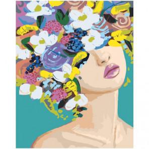 Скромная девушка с цветами на голове 80х100 Раскраска картина по номерам на холсте