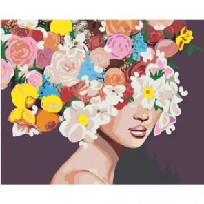 Девушка с пышными цветами на голове 100х125 Раскраска картина по номерам на холсте