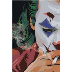 Джокер в сигаретном дыму 80х120 Раскраска картина по номерам на холсте