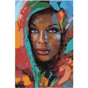 Красочная загорелая девушка Раскраска картина по номерам на холсте