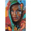 Красочная загорелая девушка 80х120 Раскраска картина по номерам на холсте