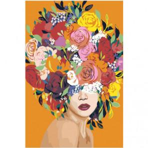 Яркая цветочная голова девушки 80х120 Раскраска картина по номерам на холсте