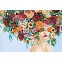 Девушка с пышным букетом на голове 80х120 Раскраска картина по номерам на холсте