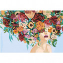Девушка с пышным букетом на голове 100х150 Раскраска картина по номерам на холсте