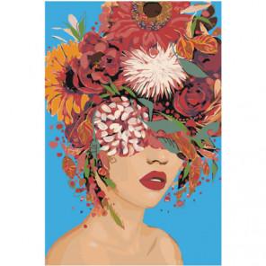 Девушка с цветочной прической Раскраска картина по номерам на холсте