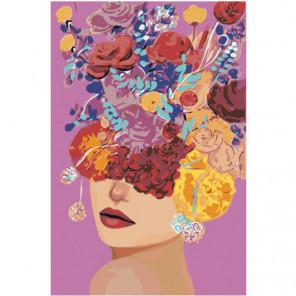 Цветочная голова девушки 80х120 Раскраска картина по номерам на холсте