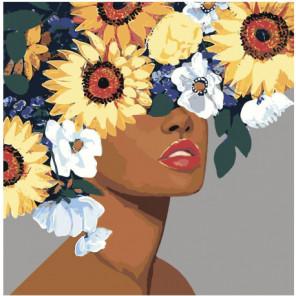 Девушка с красочными цветами 40х40 100х100 Раскраска картина по номерам на холсте